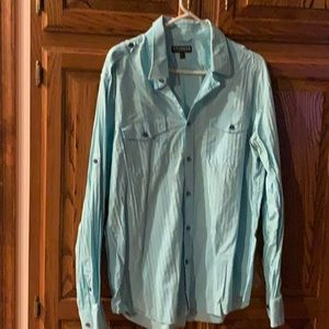 Men's aqua color Express Buttin Up Shirt size Xl